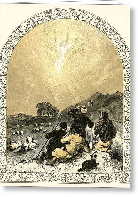 Shepherds And Angel Greeting Card by Miles Birkett Foster