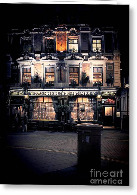Sherlock Holmes Pub Greeting Card by Jasna Buncic