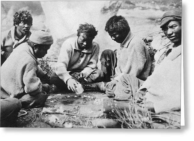 Sherpas Playing Backgammon Greeting Card by Underwood Archives