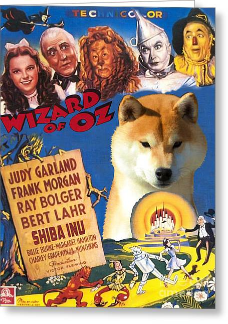 Shiba Inu Art Canvas Print - The Wizard Of Oz Movie Poster Greeting Card