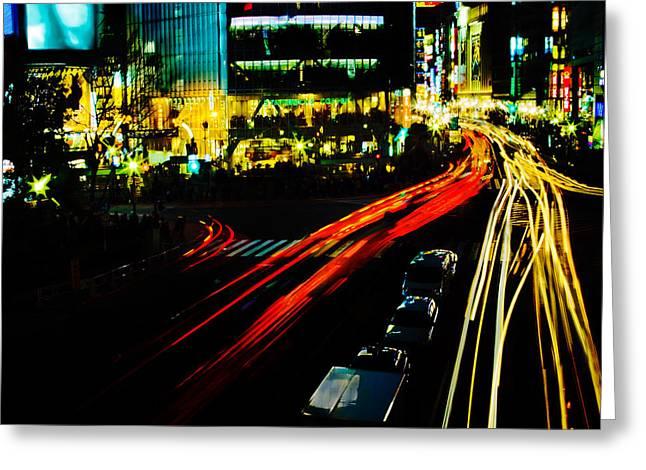 Shibuya At Night Greeting Card by Julian Cook