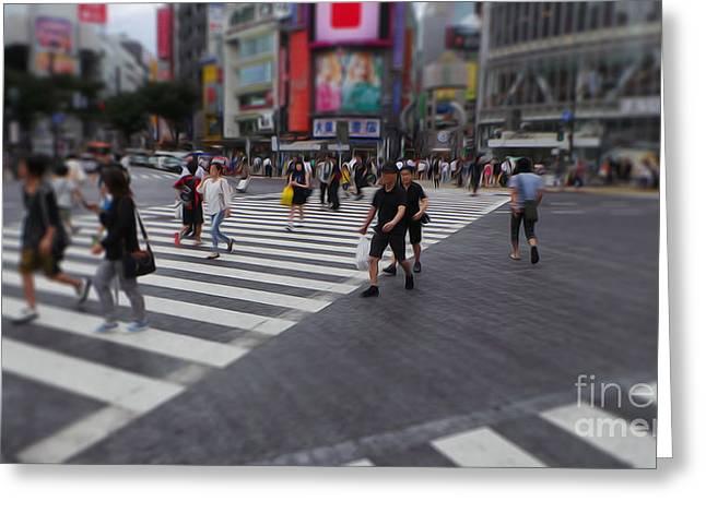 Shibuya Crossing At Noon Greeting Card by David Bearden