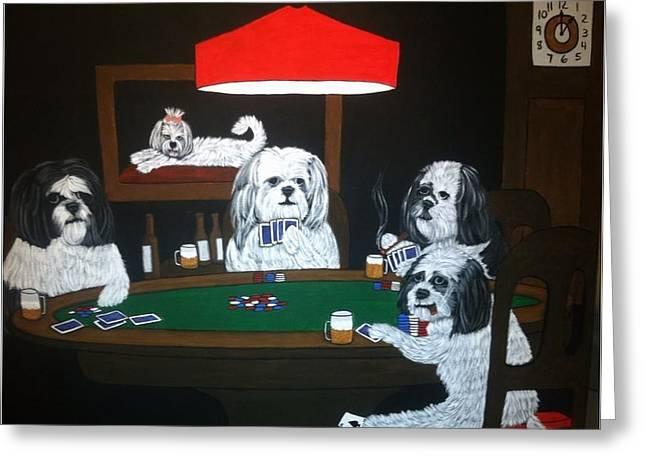 Shih Tzu Poker Greeting Card by Tammy Rekito