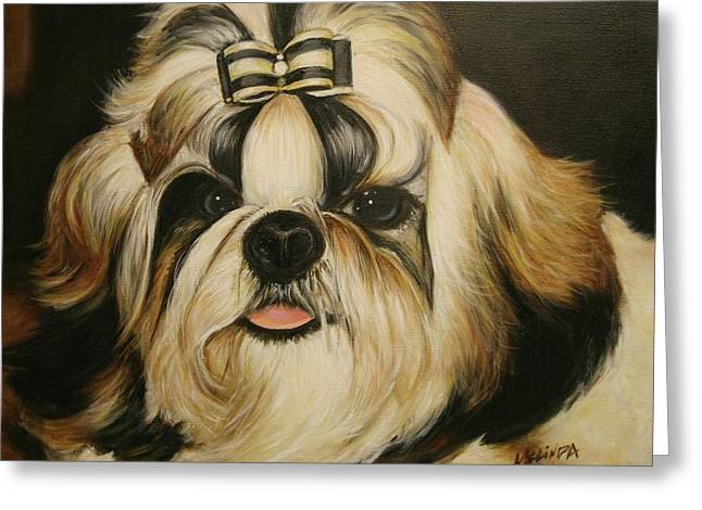 Greeting Card featuring the painting Shih Tzu Puppy Portrait #2 by Melinda Saminski
