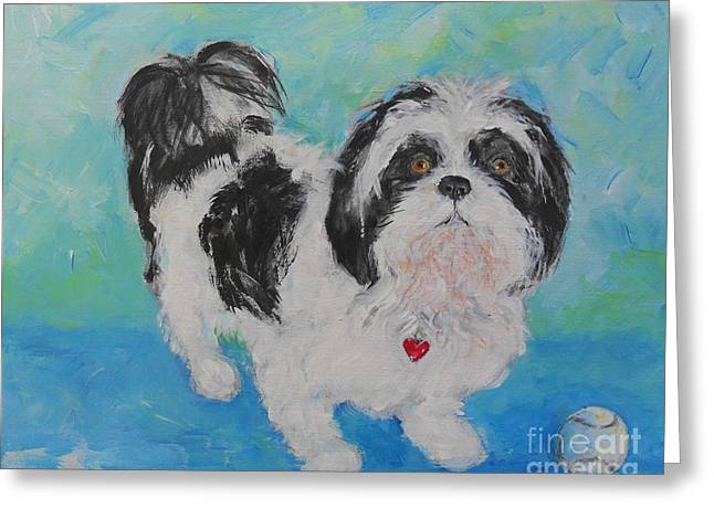 Greeting Card featuring the painting Shih Tzu Yoda by Doris Blessington