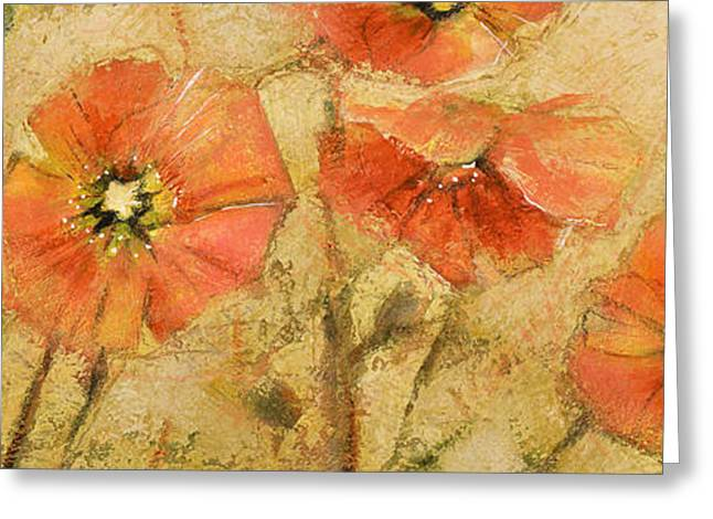 Shimmering Poppies Greeting Card by Jen Norton