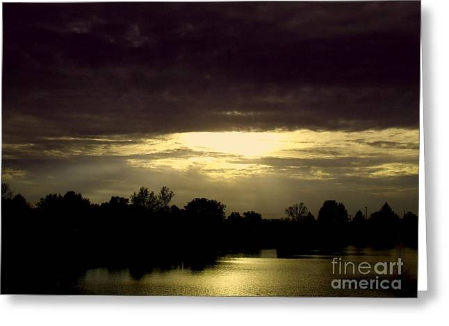 Shimmering Shadow Sunset Greeting Card