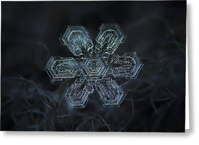 Greeting Card featuring the photograph Snowflake Photo - Shine by Alexey Kljatov