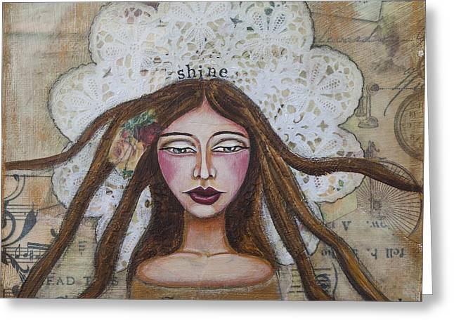 Shine Inspirational Mixed Media Folk Art Greeting Card