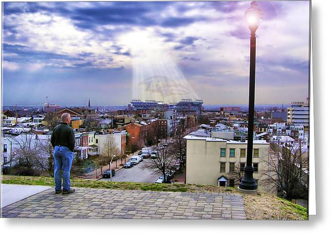 Shine On Baltimore Ravens Greeting Card by Brian Wallace