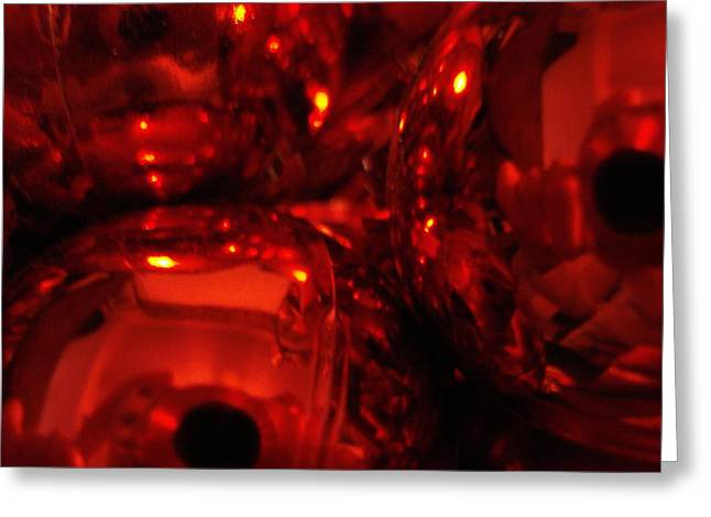 Shiney Red Ornaments One Greeting Card