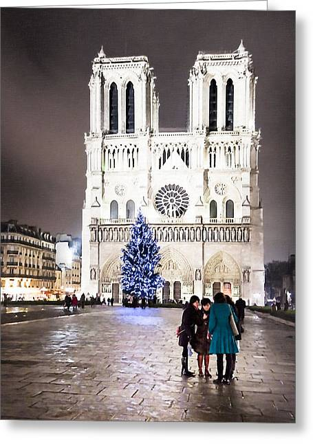 Shining Star - Notre Dame De Paris At Night Greeting Card by Mark E Tisdale