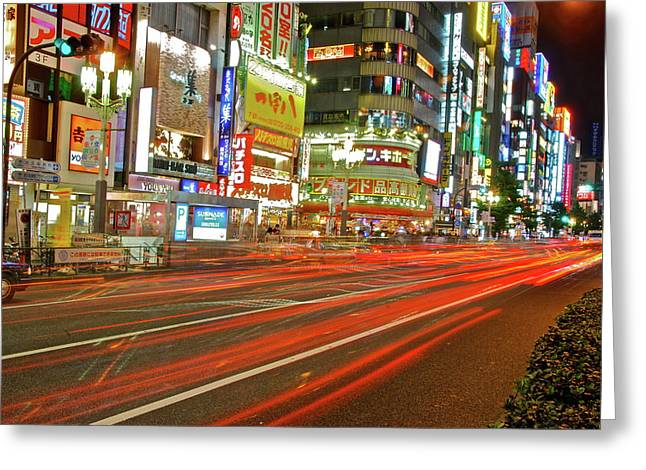 Shinjuku Neon Strikes Greeting Card