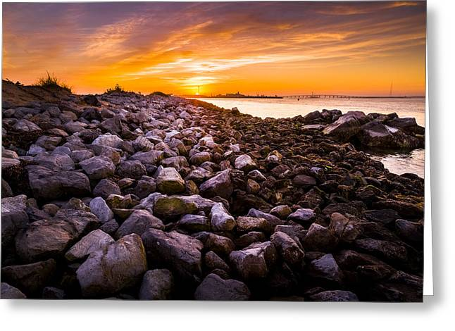 Shinnecock Bay Rock Sunset Greeting Card