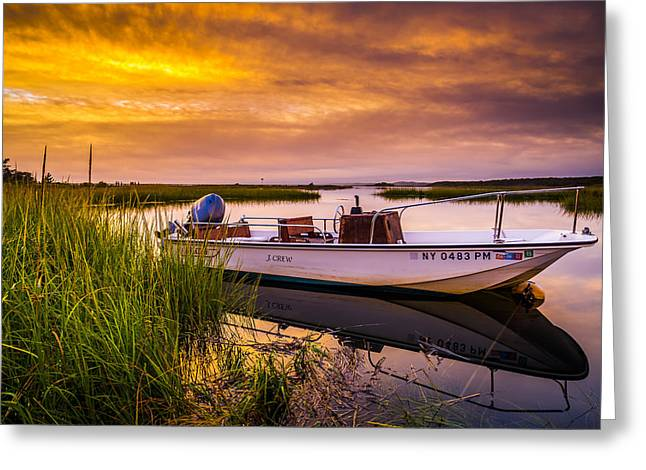 Shinnecock Bay Sunset Greeting Card by Ryan Moore