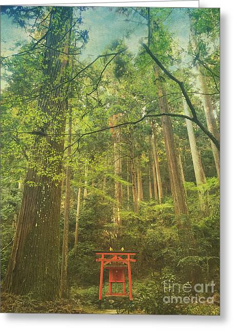 Shinto Shrine Deep In The Forest Greeting Card by Beverly Claire Kaiya
