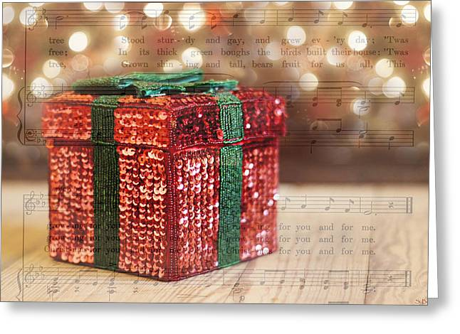 Shiny Little Present Greeting Card by Susan Bordelon