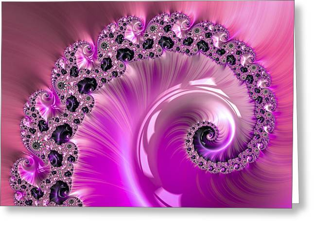 Shiny Pink Fractal Spiral Greeting Card by Matthias Hauser