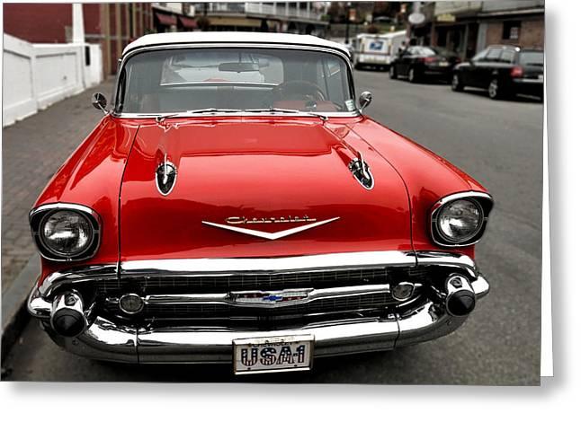 Shiny Red Chevrolet Greeting Card by Nancy De Flon