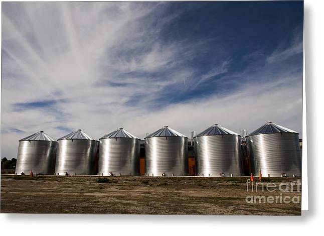 Shiny Silos Greeting Card by Juan Romagosa