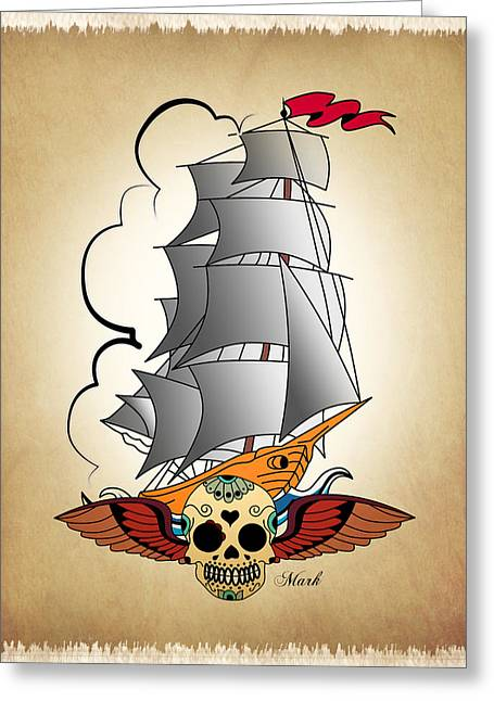 Ship 3 Greeting Card