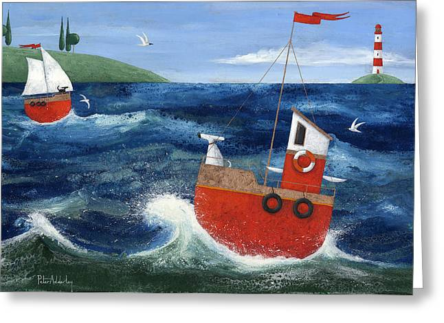 Ship Ahoy Greeting Card by Peter Adderley