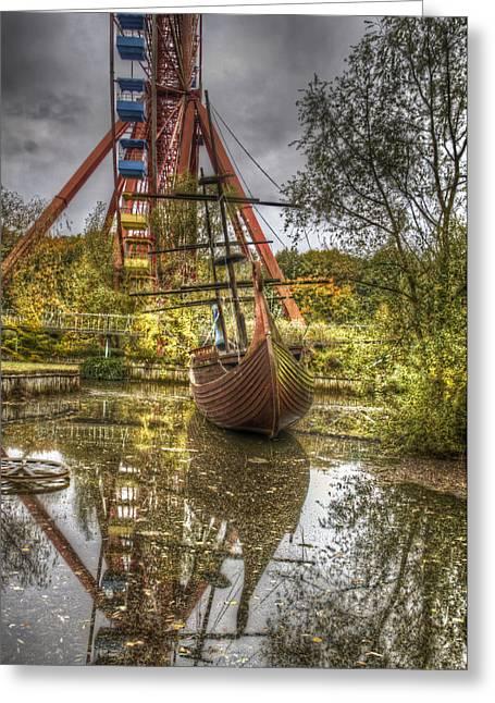 Ship And Wheel Greeting Card by Nathan Wright