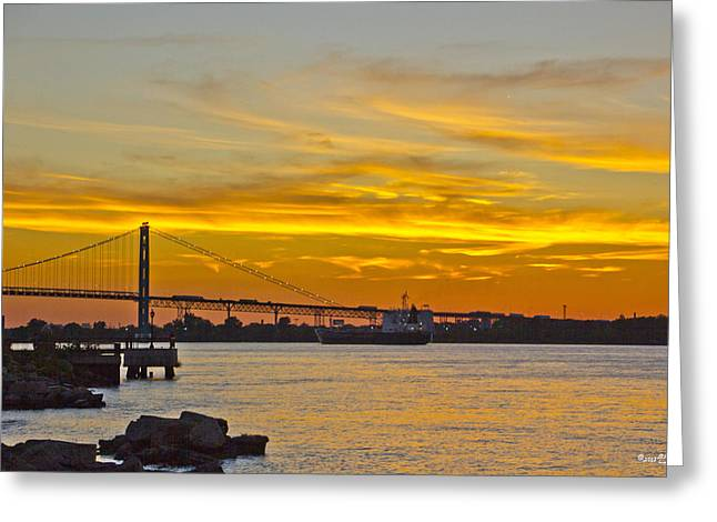 Ship Approaches Ambassador Bridge At Sunset Greeting Card