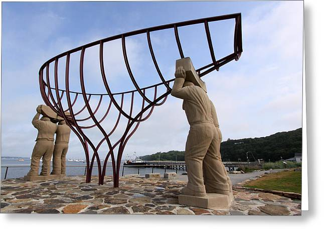 Ship Builders Sculpture Port Jefferson New York Greeting Card