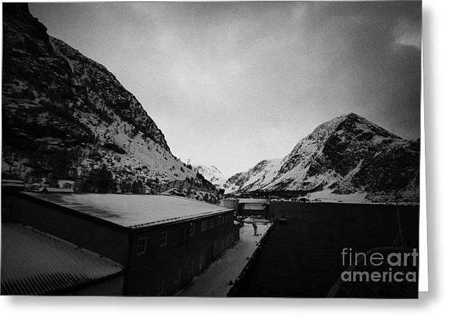 Ship Docked At Oksfjord During Winter Norway Europe Greeting Card