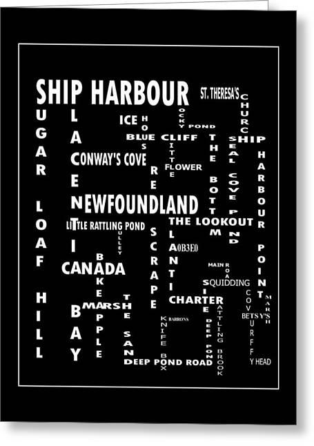 Ship Harbour Newfoundland Landmarks Crossword Art Greeting Card