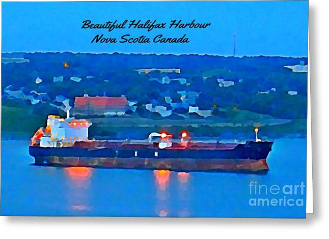 Ship In Beautiful Halifax Harbour Greeting Card by John Malone