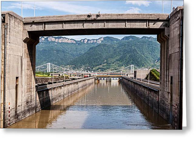 Ship Locks On Three Gorges Dam, Yangtze Greeting Card by Panoramic Images
