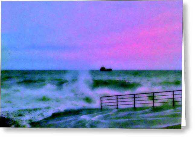 Ship On Rough Sea's  Greeting Card by Rick Todaro