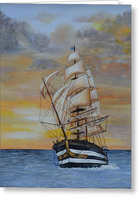 Ship On The High Seas Greeting Card