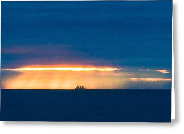Ship On The Horizon Greeting Card by Edgar Laureano