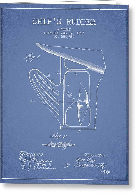 Ship Rudder Patent Drawing From 1887 - Light Blue Greeting Card