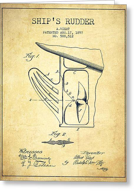 Ship Rudder Patent Drawing From 1887 - Vintage Greeting Card