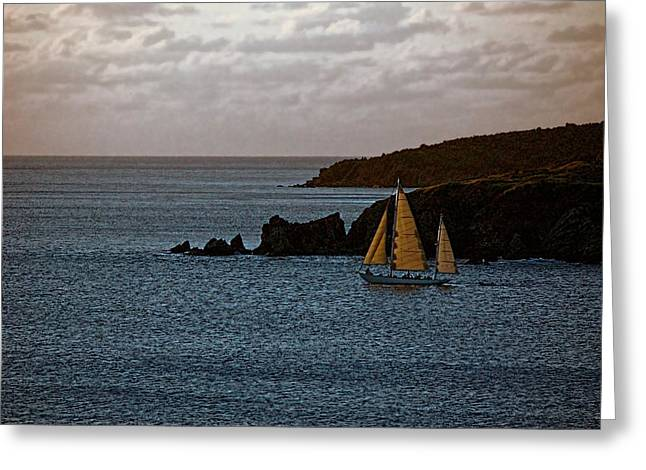 Ship Sailing At Dawn Greeting Card