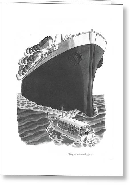 Ship To Starboard Greeting Card by Robert J. Day