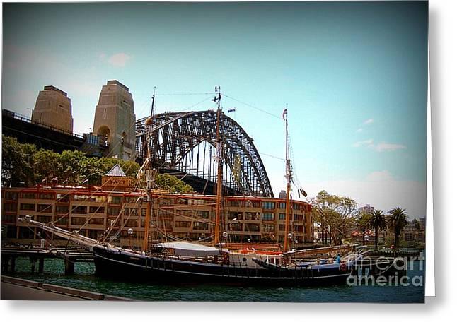 Ship Under Sydney Bridge Greeting Card by John Potts