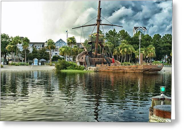 Ship Wrecked At The Disney Yacht And Beach Club Resort Greeting Card by Thomas Woolworth
