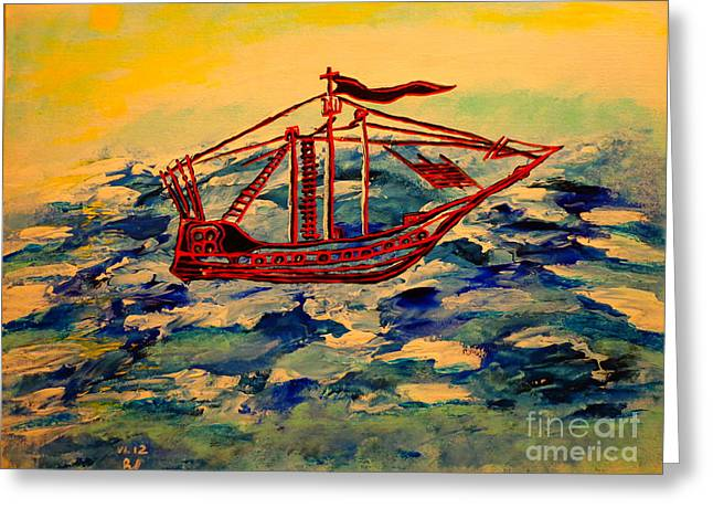 Greeting Card featuring the painting Ship.abstract. by Viktor Lazarev