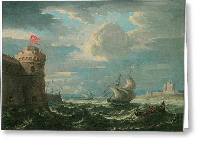 Shipping In A Stiff Breeze In An Estuary  Greeting Card by Pieter Mulier