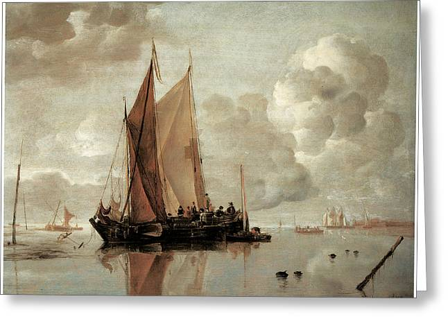 Shipping In Calm Waters Of An Estuary A Harbor Town In The Distance Greeting Card by Jan van de Cappelle