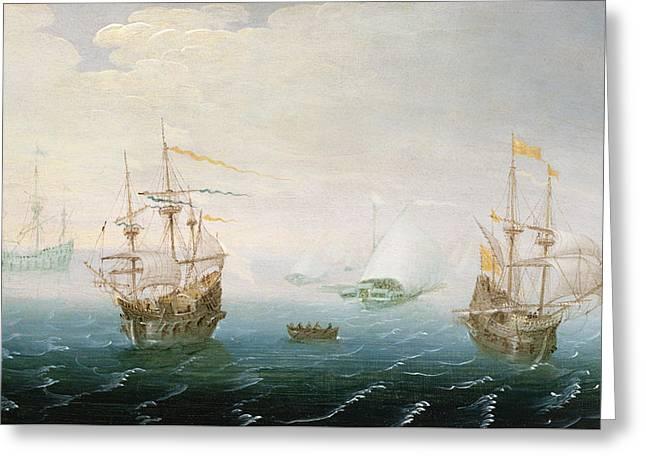 Shipping On Stormy Seas Greeting Card by Aert van Antum