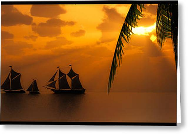 Ships And The Golden Dawn... Greeting Card