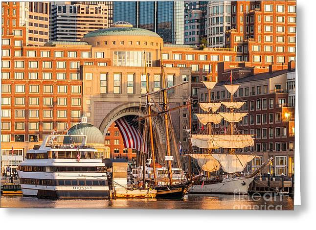 Ships At Rowes Wharf Greeting Card by Susan Cole Kelly