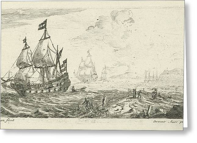 Ships Before Coast, Print Maker Anonymous Greeting Card