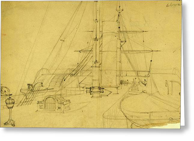 Ships Deck, Between 1860 And 1865, Drawing On Cream Paper Greeting Card